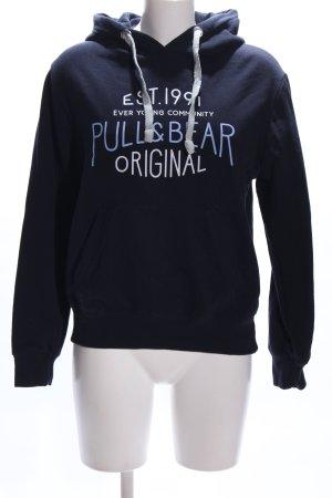Pull & Bear Kapuzenpullover blau Schriftzug gedruckt Casual-Look