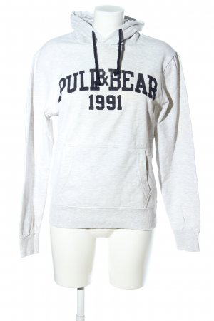 Pull & Bear Kapuzensweatshirt hellgrau-schwarz meliert Casual-Look