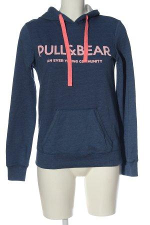 Pull & Bear Sudadera con capucha azul letras impresas look casual