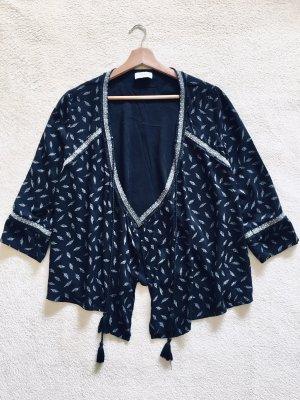Pull & Bear Bluzka kimono czarny-biały