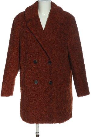 Pull & Bear Fake Fur Coat brown allover print casual look