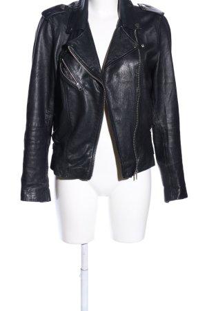 Pull & Bear Chaqueta de cuero de imitación negro look casual