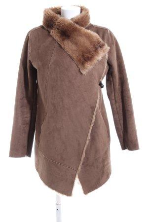Pull & Bear Kurtka z imitacji skóry brązowy W stylu casual