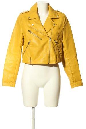 Pull & Bear Kurtka z imitacji skóry bladożółty W stylu casual