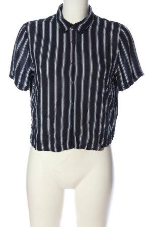 Pull & Bear Kurzarm-Bluse schwarz-weiß Allover-Druck Business-Look