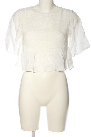 Pull & Bear Kurzarm-Bluse weiß-wollweiß Casual-Look