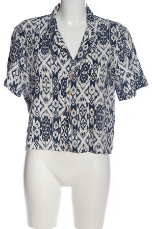 Pull & Bear Chemise à manches courtes bleu-blanc imprimé allover