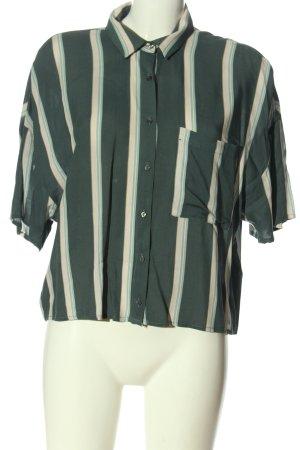 Pull & Bear Kurzarmhemd grün-creme Streifenmuster Business-Look