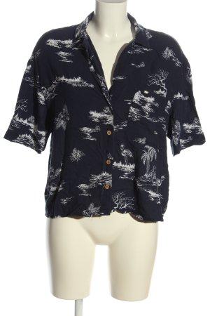 Pull & Bear Camisa de manga corta azul-blanco estampado con diseño abstracto