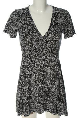 Pull & Bear Kurzarmkleid schwarz-weiß Allover-Druck Casual-Look
