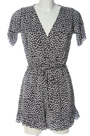 Pull & Bear Kurzer Jumpsuit nero-bianco stampa integrale stile casual