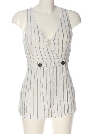 Pull & Bear Kurzer Jumpsuit weiß-schwarz Allover-Druck Casual-Look