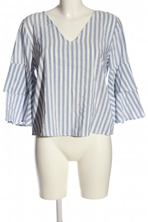 Pull & Bear Langarm-Bluse blau-weiß Allover-Druck Casual-Look