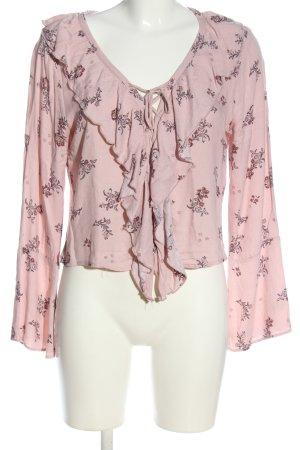 Pull & Bear Langarm-Bluse pink-schwarz Allover-Druck Casual-Look
