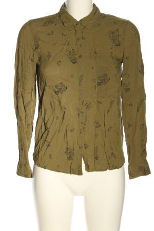 Pull & Bear Langarm-Bluse khaki Motivdruck Casual-Look
