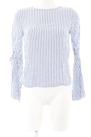Pull & Bear Langarm-Bluse blau-weiß Streifenmuster Casual-Look