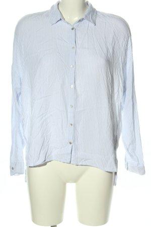 Pull & Bear Langarm-Bluse blau-weiß Streifenmuster Business-Look