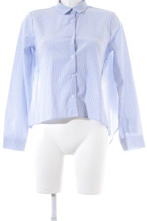 Pull & Bear Langarm-Bluse weiß-blau Schleifen-Detail