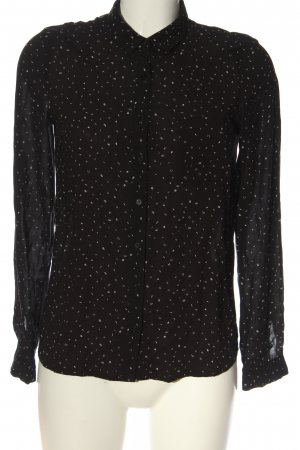 Pull & Bear Langarmhemd schwarz-weiß Allover-Druck Casual-Look