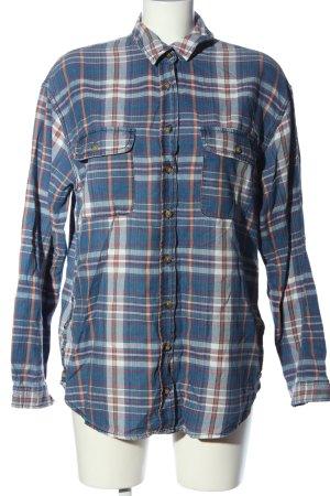 Pull & Bear Langarmhemd blau-weiß Allover-Druck Casual-Look