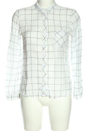 Pull & Bear Langarmhemd weiß-schwarz Karomuster Business-Look