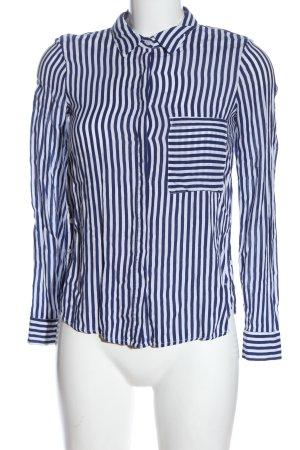 Pull & Bear Langarmhemd blau-weiß Streifenmuster Casual-Look