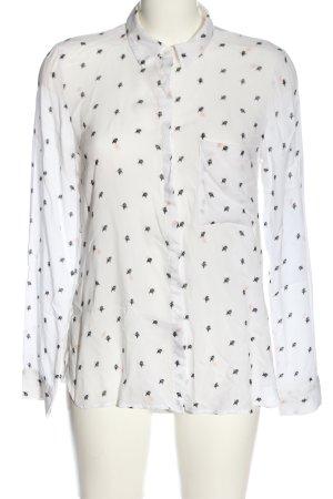Pull & Bear Langarmhemd weiß-schwarz Allover-Druck Casual-Look