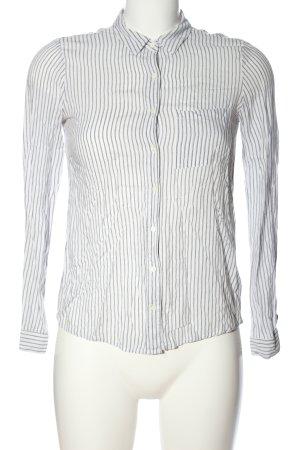 Pull & Bear Langarmhemd weiß-schwarz Streifenmuster Casual-Look