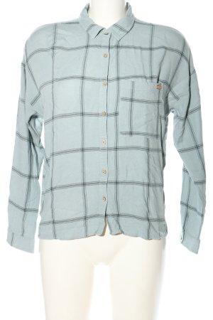 Pull & Bear Langarmhemd blau-hellgrau Karomuster Casual-Look