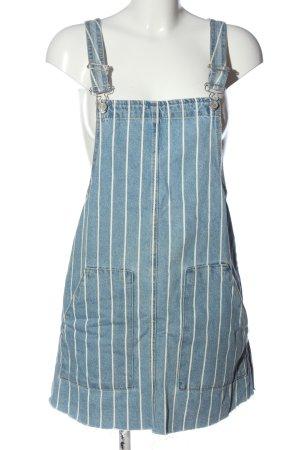 Pull & Bear Jeanskleid blau-weiß Streifenmuster Casual-Look