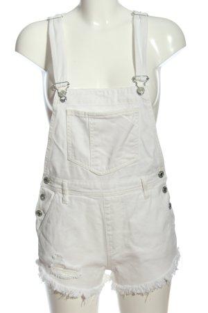 Pull & Bear Szorty ogrodniczki biały W stylu casual