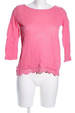 Pull & Bear Longsleeve pink Streifenmuster Casual-Look