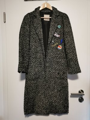 Pull & Bear Abrigo de punto blanco-negro