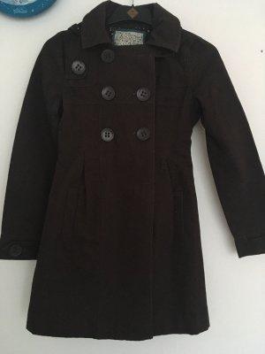 Pull & Bear Abrigo con capucha marrón oscuro