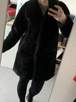 Pull & Bear Manteau de fourrure noir