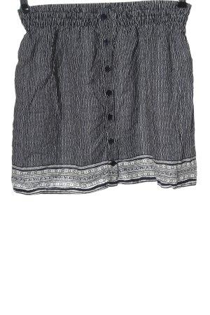 Pull & Bear Mini-jupe noir-blanc motif graphique style décontracté