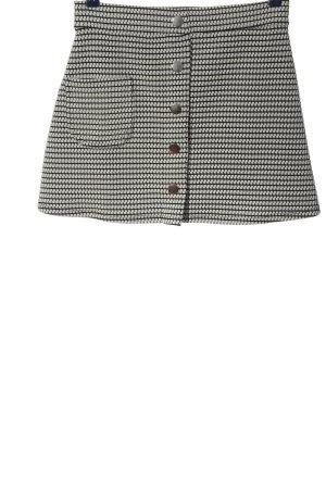 Pull & Bear Minirock weiß-schwarz grafisches Muster Casual-Look