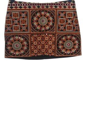 Pull & Bear Minirock schwarz-hellorange grafisches Muster Casual-Look
