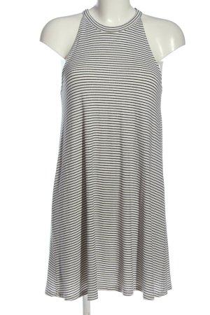 Pull & Bear Robe dos-nu blanc-noir motif rayé style décontracté