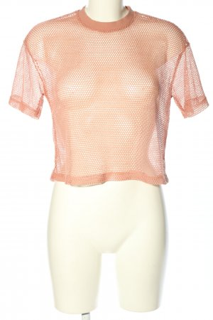 Pull & Bear Mesh Shirt pink weave pattern casual look