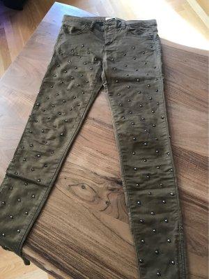 Pull&Bear Nietenhose grün