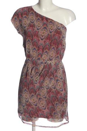 Pull & Bear Vestido de un hombro estampado con diseño abstracto elegante