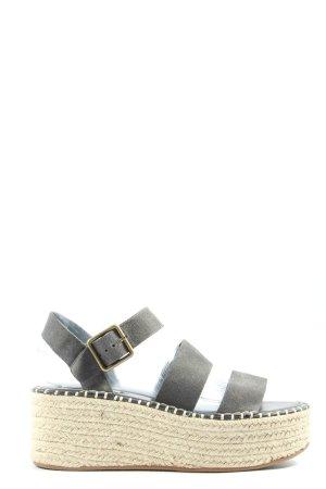 Pull & Bear Plateau-Sandalen silberfarben-creme Casual-Look