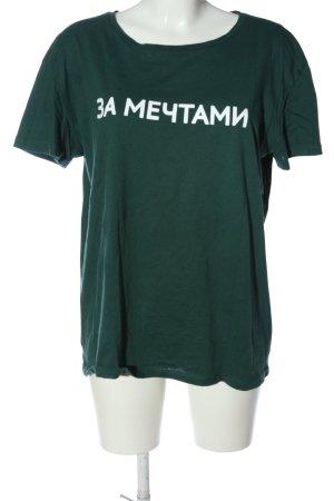 Pull & Bear Print-Shirt grün-weiß Schriftzug gedruckt Casual-Look