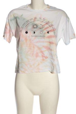 Pull & Bear Koszulka z nadrukiem biały Abstrakcyjny wzór W stylu casual