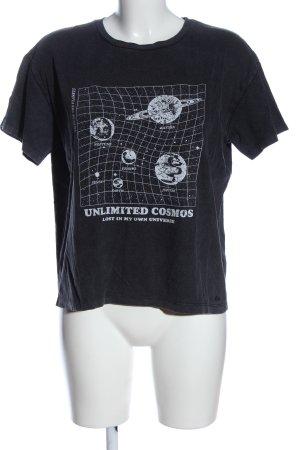 Pull & Bear Print-Shirt schwarz-hellgrau Motivdruck Casual-Look