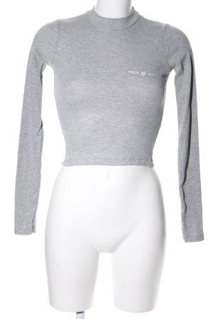 Pull & Bear Geribd shirt lichtgrijs casual uitstraling