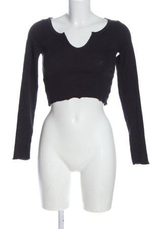 Pull & Bear Prążkowana koszulka czarny W stylu casual