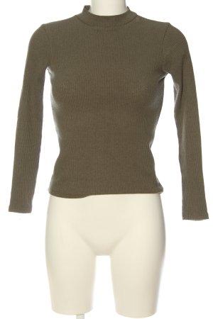 Pull & Bear Ribbed Shirt khaki casual look