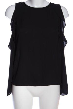 Pull & Bear Rüschen-Bluse schwarz Elegant